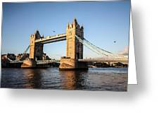 Tower Bridge And Helicopter Greeting Card