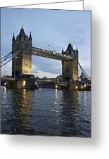 Tower Bridge And River Thames At Dusk Greeting Card
