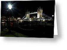 Tower Bridge And Riverside Night View  Greeting Card