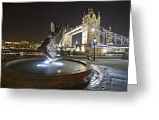 Tower Bridge Girl With A Dolphin Greeting Card