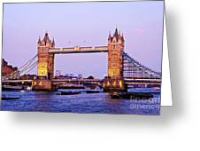 Tower Bridge In London At Dusk Greeting Card