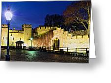 Tower Of London Walls At Night Greeting Card by Elena Elisseeva