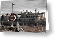 Tower Of London With Tube Sign Greeting Card