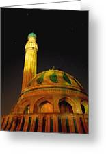 Towering Mosque In The Night Greeting Card by Rick Frost