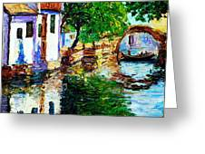 Town With Water Streets Greeting Card