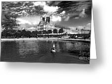 Toy Boating In A Parisian Park Bw Greeting Card