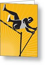 Track And Field Athlete Pole Vault High Jump Retro Greeting Card by Aloysius Patrimonio