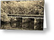 Track On The River In Sepia Greeting Card