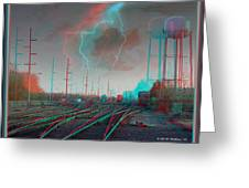 Tracking The Storm - Red-cyan Filtered 3d Glasses Required Greeting Card