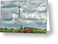 Tractor And Old Windmill Greeting Card