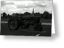 Tractor At The Flats Greeting Card