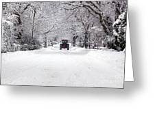 Tractor Driving Down A Snow Covered Road Greeting Card