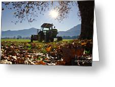 Tractor In Backlight Greeting Card