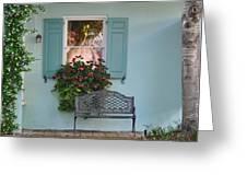 Tradd Street Window Box Tree Greeting Card by Lori Kesten