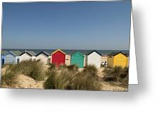 Traditional Beach Huts In The Sand Greeting Card