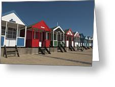 Traditional Beach Huts On The Seafront Greeting Card