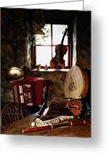 Traditional Musical Instruments, In Old Greeting Card