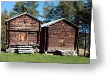 Traditional Swedish Storage Buildings Greeting Card