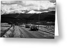 Traffic On A82 Trunk Road Through The Scottish Highlands With Snow Covered Mountains Ben More  Greeting Card