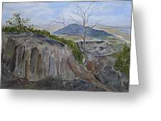 Trails End - Rocks Trees And Sky Greeting Card
