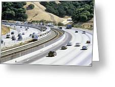Train And Motorway, California, Usa Greeting Card by Martin Bond