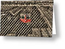 Train Behind A Fence Greeting Card