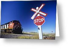 Train Passing Railway Crossing Greeting Card