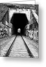 Train Tunnel At The Muir Trestle In Martinez California . 7d10235 . Black And White Greeting Card