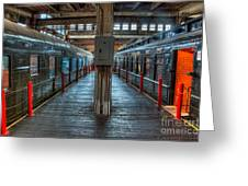 Trains - Two Rail Cars In Roundhouse Greeting Card