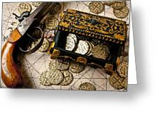 Treasure Box With Old Pistol Greeting Card