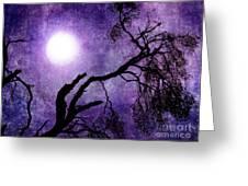 Tree Branch In Purple Moonlight Greeting Card