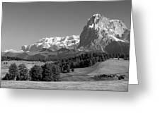 Treeline Across Alpi Di Siusi In The Dolomites Greeting Card