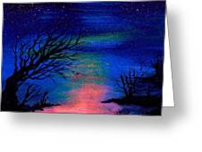 Trees At Night Greeting Card