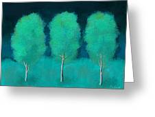 Trees In Triplicate Moonlit Winter Greeting Card by Robin Lewis
