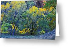Trees On Edge Of Field In Autumn Greeting Card