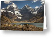 Trekkers Camp Near Carhuacocha Lake Greeting Card