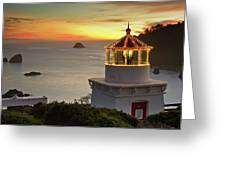 Trinidad Memorial Lighthouse Sunset Greeting Card
