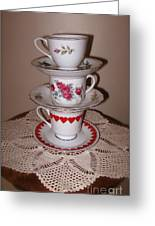 Trio Of Valentine Tea Cups  Greeting Card