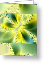 Triplicate Vertical Yellow Blossoms Greeting Card