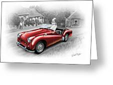 Triumph Tr-2 Sports Car In Red Greeting Card by David Kyte