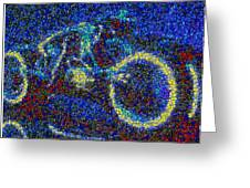 Tron Light Cycle Skittles Mosaic Greeting Card by Paul Van Scott