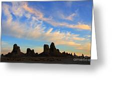 Trona Pinnacles At Sunset Greeting Card