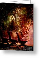 Tropical Bench Greeting Card by Susanne Van Hulst