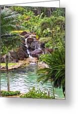 Tropical Garden Waterfall Greeting Card