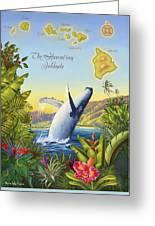 Tropical Hawaiian Island Map Greeting Card by Anne Wertheim