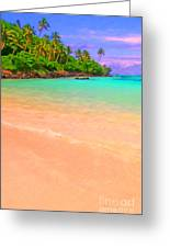 Tropical Island 3 - Painterly Greeting Card by Wingsdomain Art and Photography