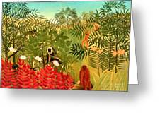 Tropical Jungle By Henri Rousseau Greeting Card by Pg Reproductions