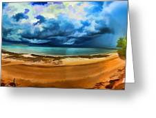 Tropical Seasonal Monsoon Rain V2 Greeting Card