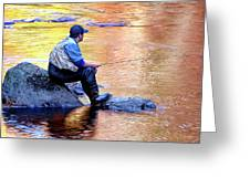 Trout Fisherman In Autumn Greeting Card