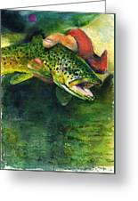 Trout In Hand Greeting Card